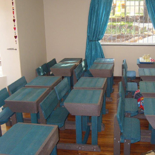 ExtruWood recycled plastic school benches 1